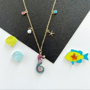 Crystal Encrusted Nautical Seahorse Necklace